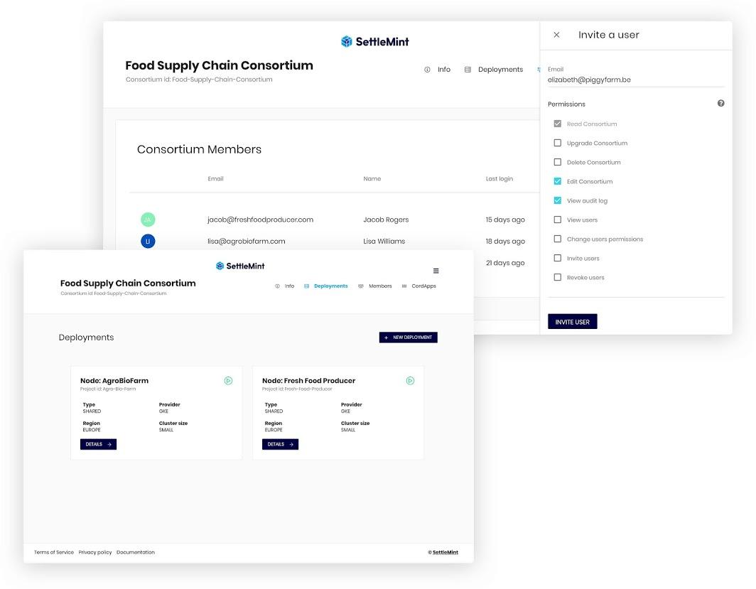 SettleMint Blockchain Platform consortium